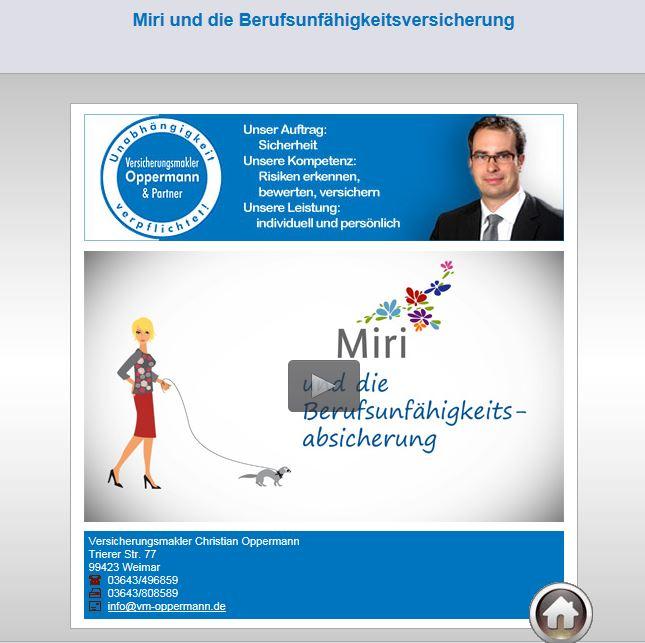 Miri und Berufsunfähigkeitsversicherung Video Versicherungsmakler Oppermann Weimar