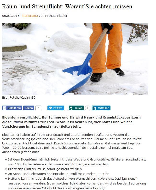 Streu und Reinigungspflicht